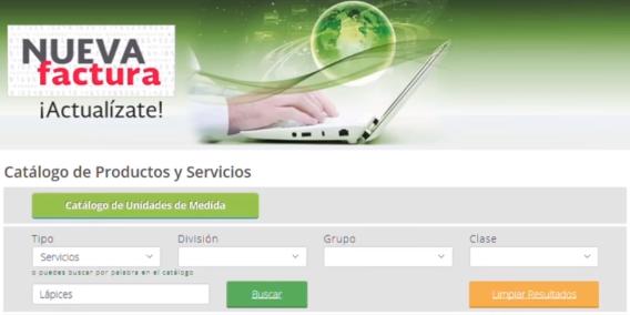 Factura 3.3 Clasificacon de Productos SAT GS1 Mexico UNSPSC